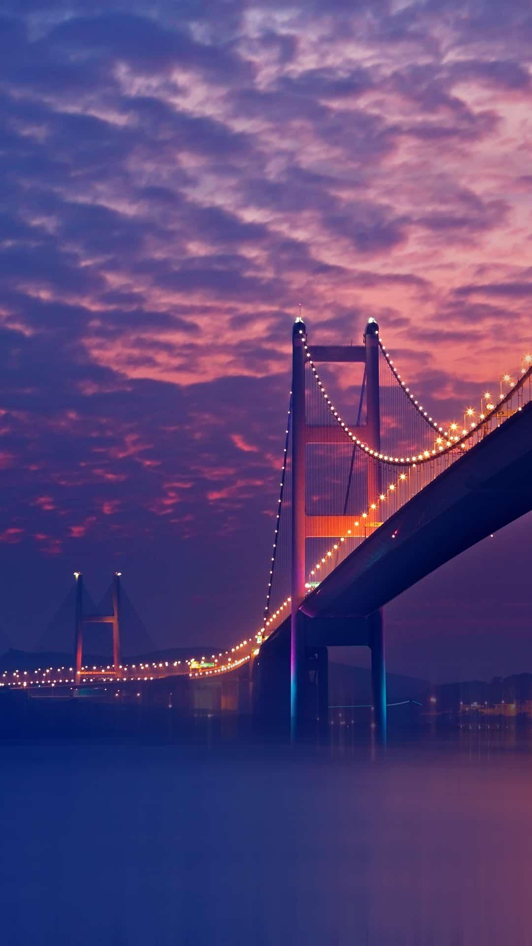 Bridge Night Lights Purple Andro Iphone Wallpaper Bridge
