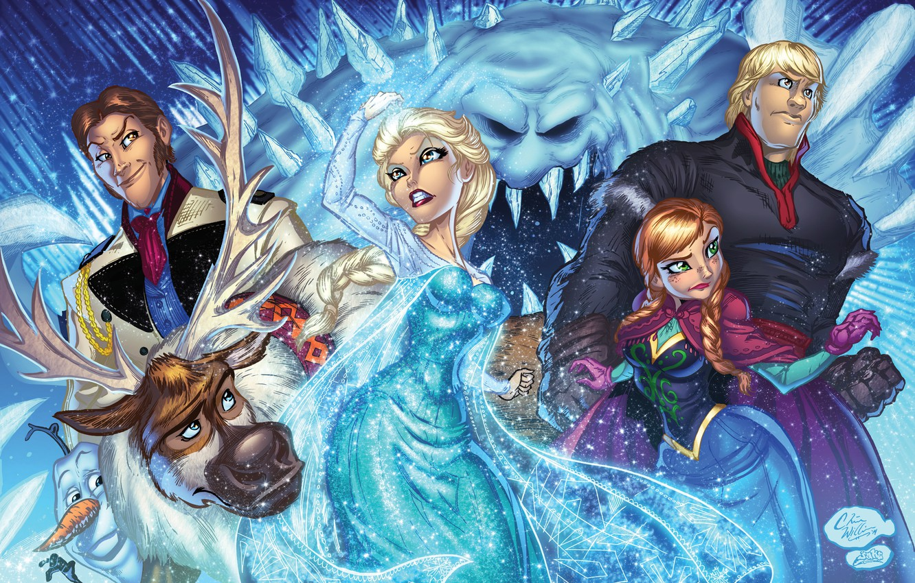 Photo Wallpaper Frozen Anna Art Elsa Olaf Sven Frozen Anna