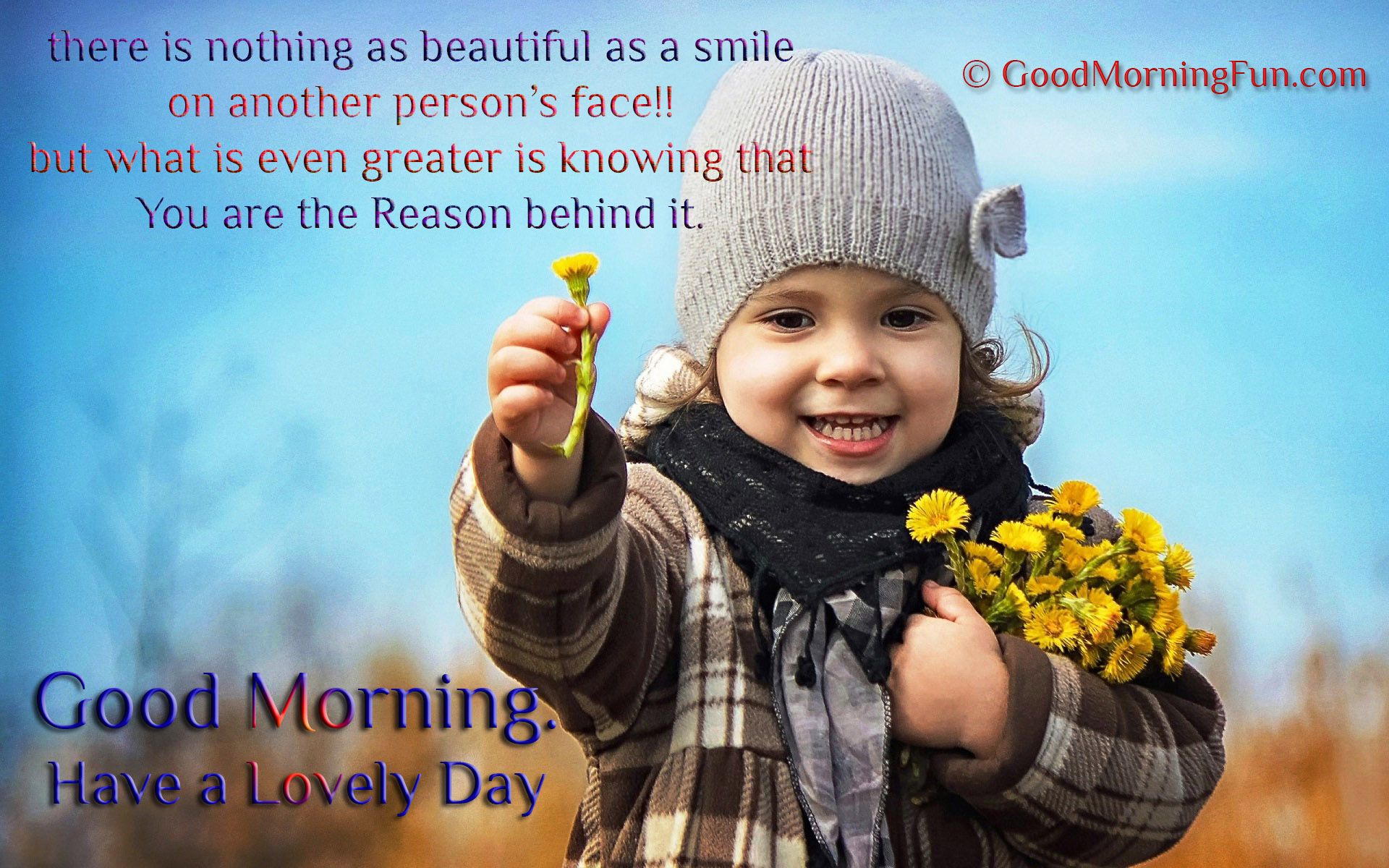 good morning smile quotes flower offering cute baby smile sweet