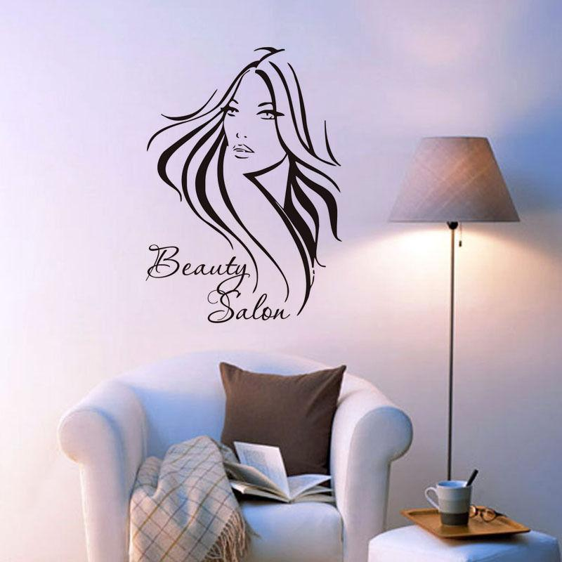 Pretty Long Hair Girl Wall Decals Beauty Salon Living - Wall Stickers Beauty Salon , HD Wallpaper & Backgrounds