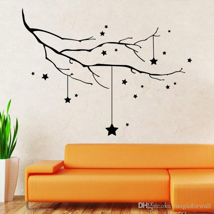 Home Decor Black Star And Tree Branch Wall Decal Sticker - Wall Sticker Tree Branch , HD Wallpaper & Backgrounds