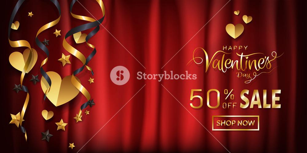 Elegance Sale Wide Banner Design For Valentines Day - Calligraphy , HD Wallpaper & Backgrounds