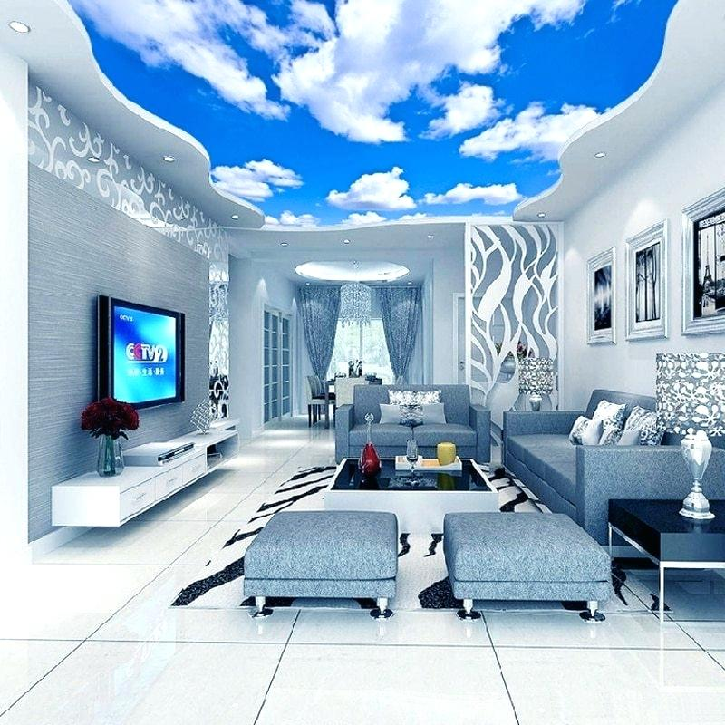 Custom Ceiling Mural Wallpaper Blue Sky And White Clouds Ceiling