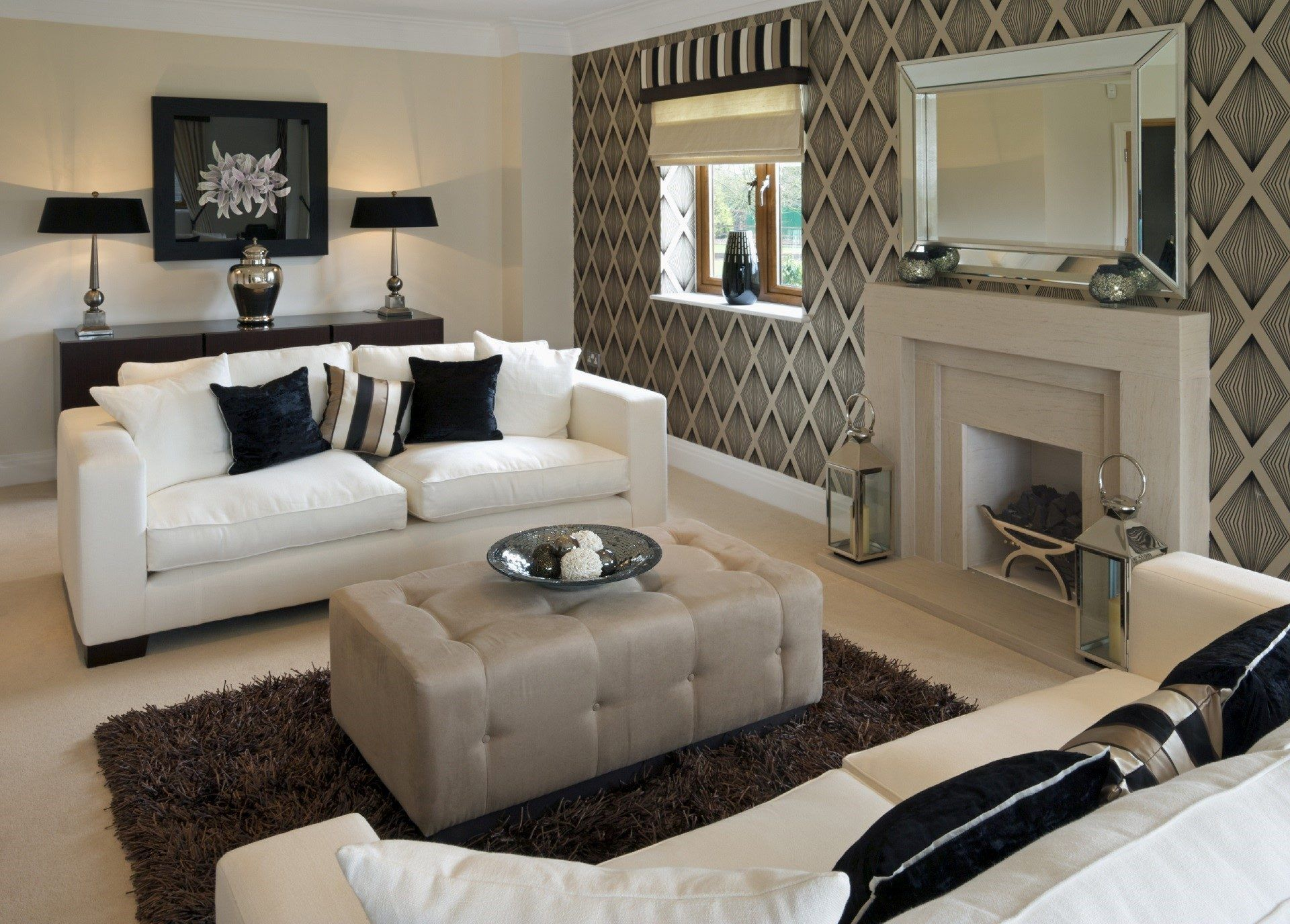 Attractive Latest Living Room Designs Wallpaper Lounge - Living Room Ideas Beige And Brown , HD Wallpaper & Backgrounds