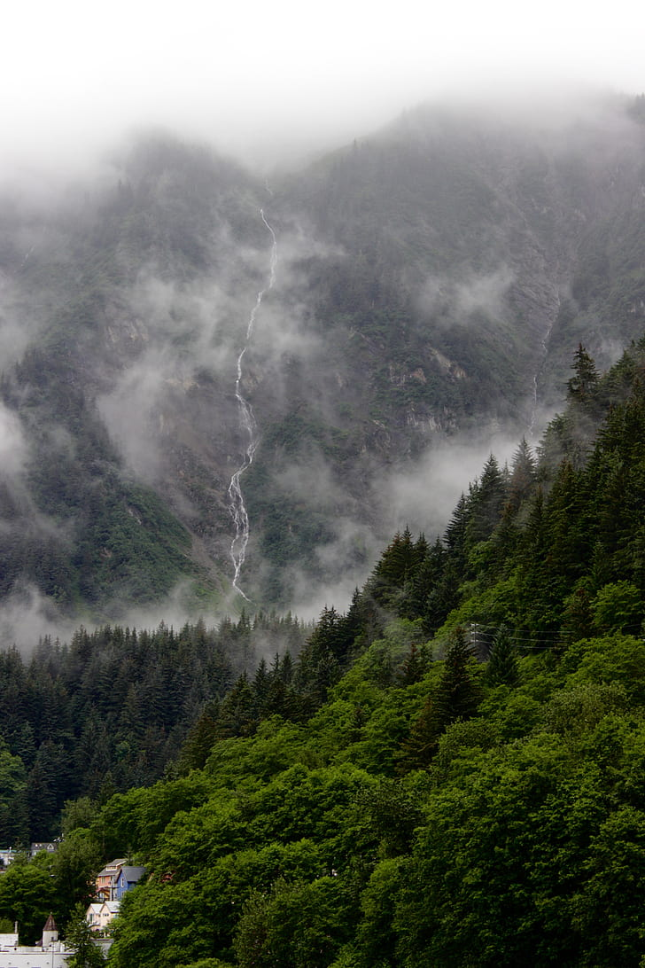 Narrow Waterfall In Alaska, Green Trees With Mountain, - Waterfall Mountain Scene Mountain , HD Wallpaper & Backgrounds