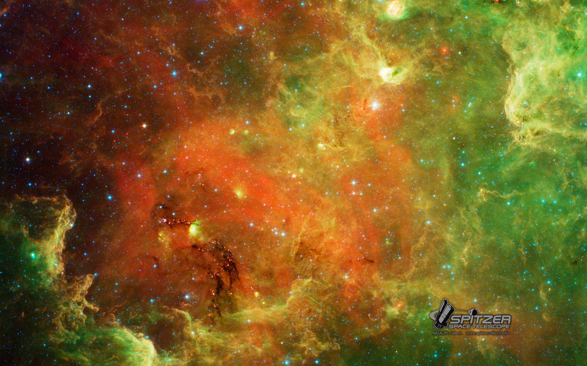 Download 1920 X - Green And Orange Space , HD Wallpaper & Backgrounds