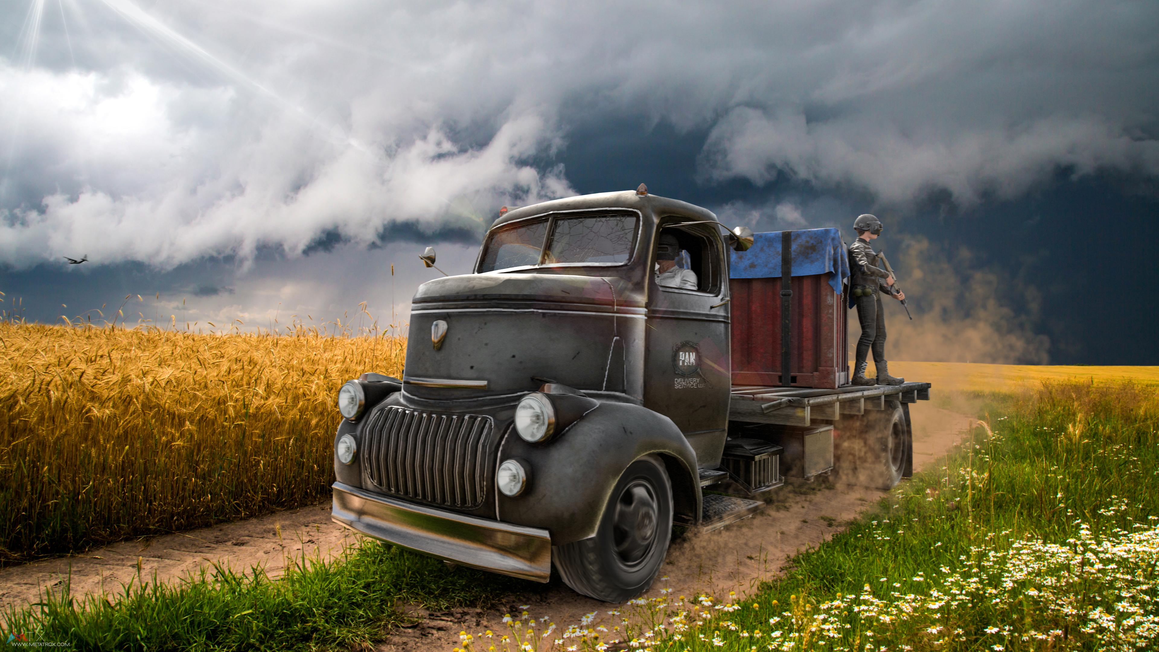 Playerunknowns Battlegrounds Truck 4k - Pubg Wallpaper 4k , HD Wallpaper & Backgrounds