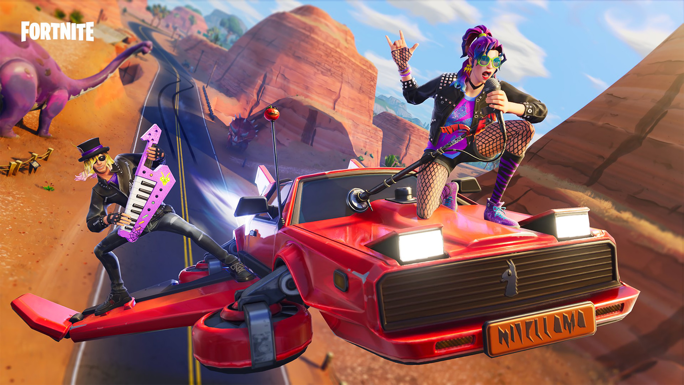 Stage Slayer And Synth Star Fortnite Battle Royale - Fortnite Hot Ride Glider , HD Wallpaper & Backgrounds