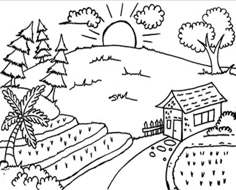 Gambar Mewarnai Pemandangan Alam Gunung - Mewarnai Gambar Pemandangan , HD Wallpaper & Backgrounds