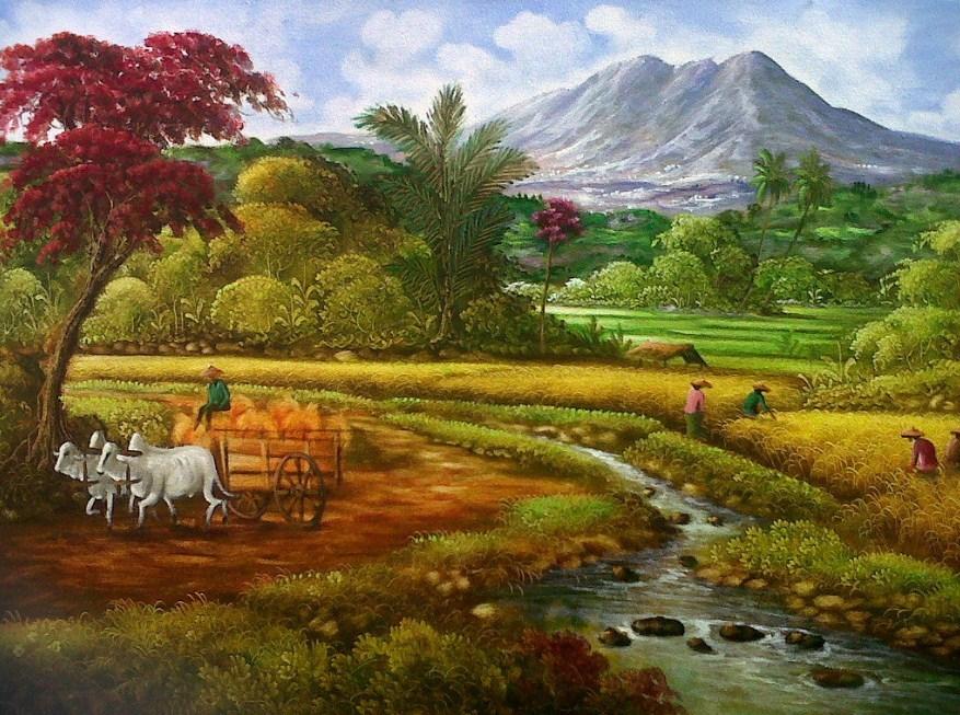Lukisan Pemandangan Sawah Padi Di Waktu Senja Gambar Pemandangan