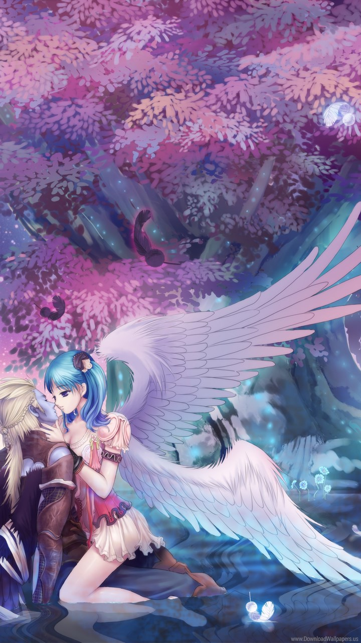 Download Android Hd - Anime Love Girl Angel , HD Wallpaper & Backgrounds