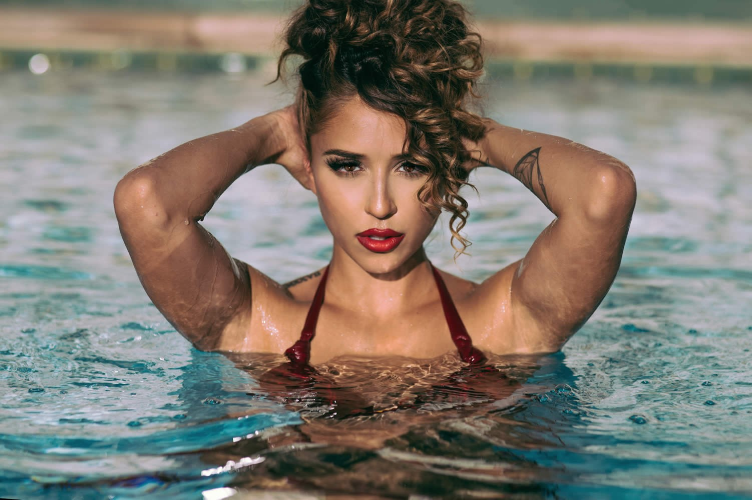 #water, #model, #tianna Gregory, #swimming Pool, #women, - Tianna Gregory In Pool , HD Wallpaper & Backgrounds