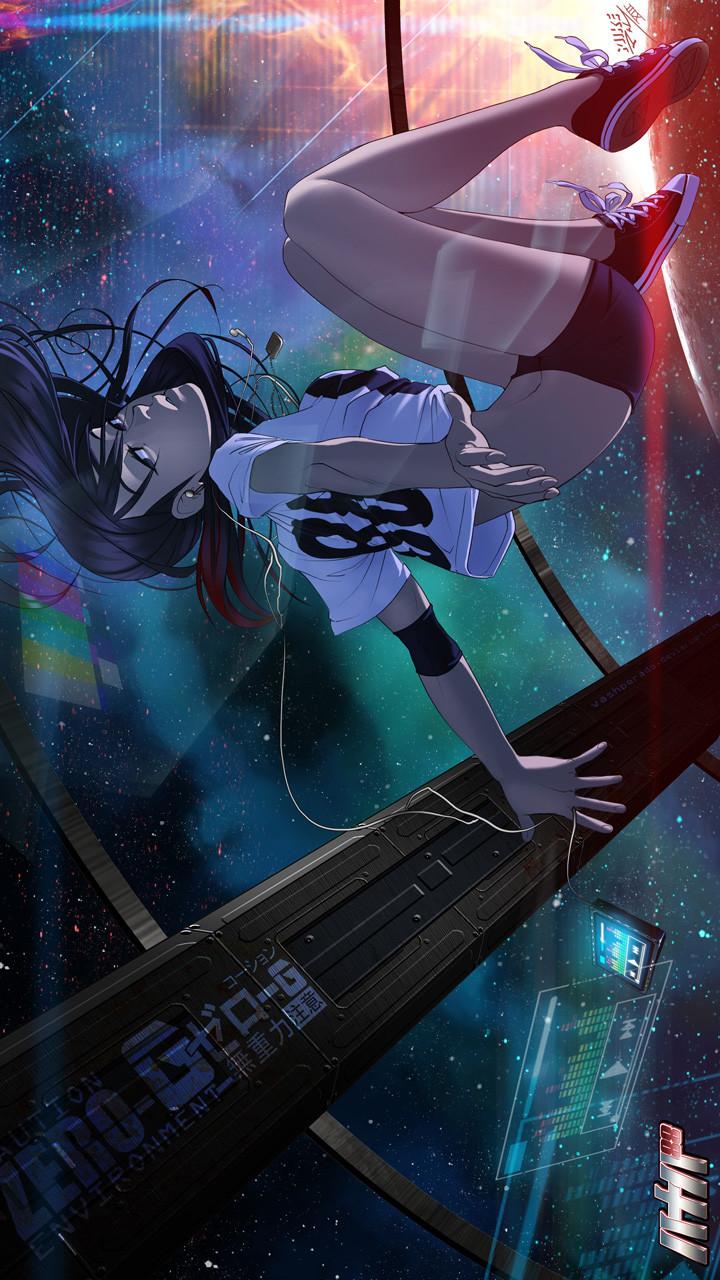 Space Girl 88 [720 X 1280] - Anime Cyberpunk Wallpaper Phone , HD Wallpaper & Backgrounds