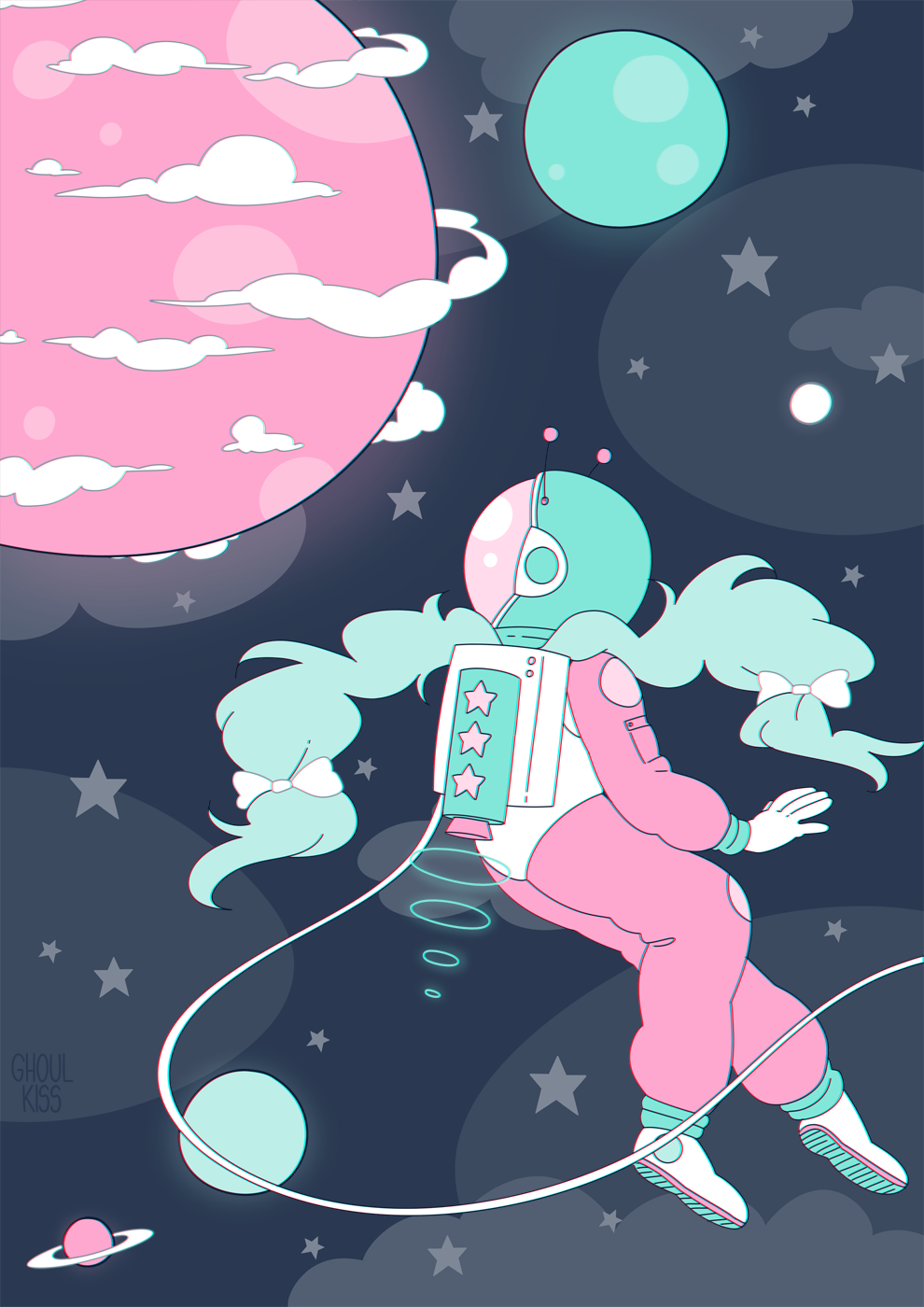 This Beautiful Space Girl Illustration Makes My Heart - Space Girl Aesthetic , HD Wallpaper & Backgrounds