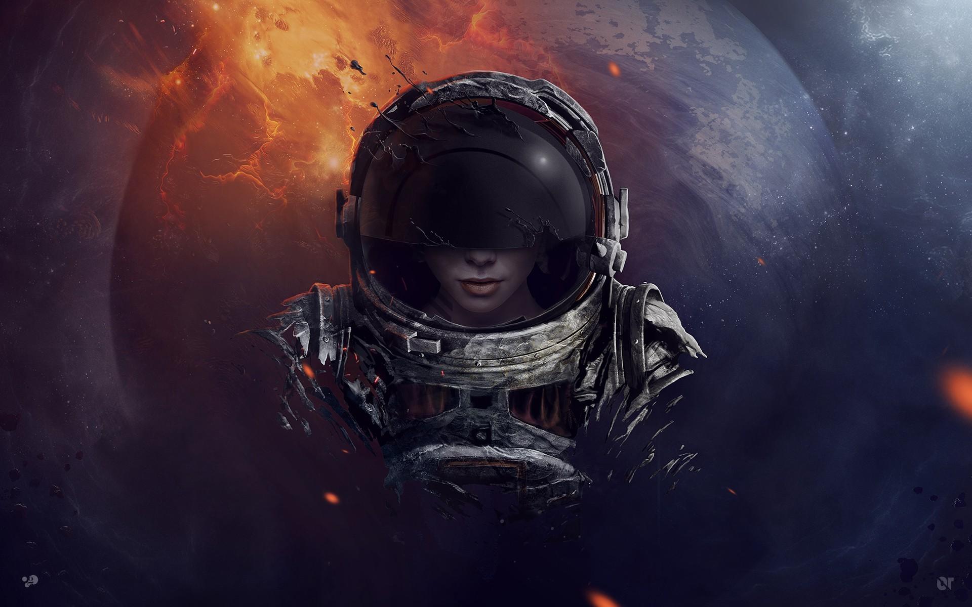 Female Astronaut Art Background , HD Wallpaper & Backgrounds