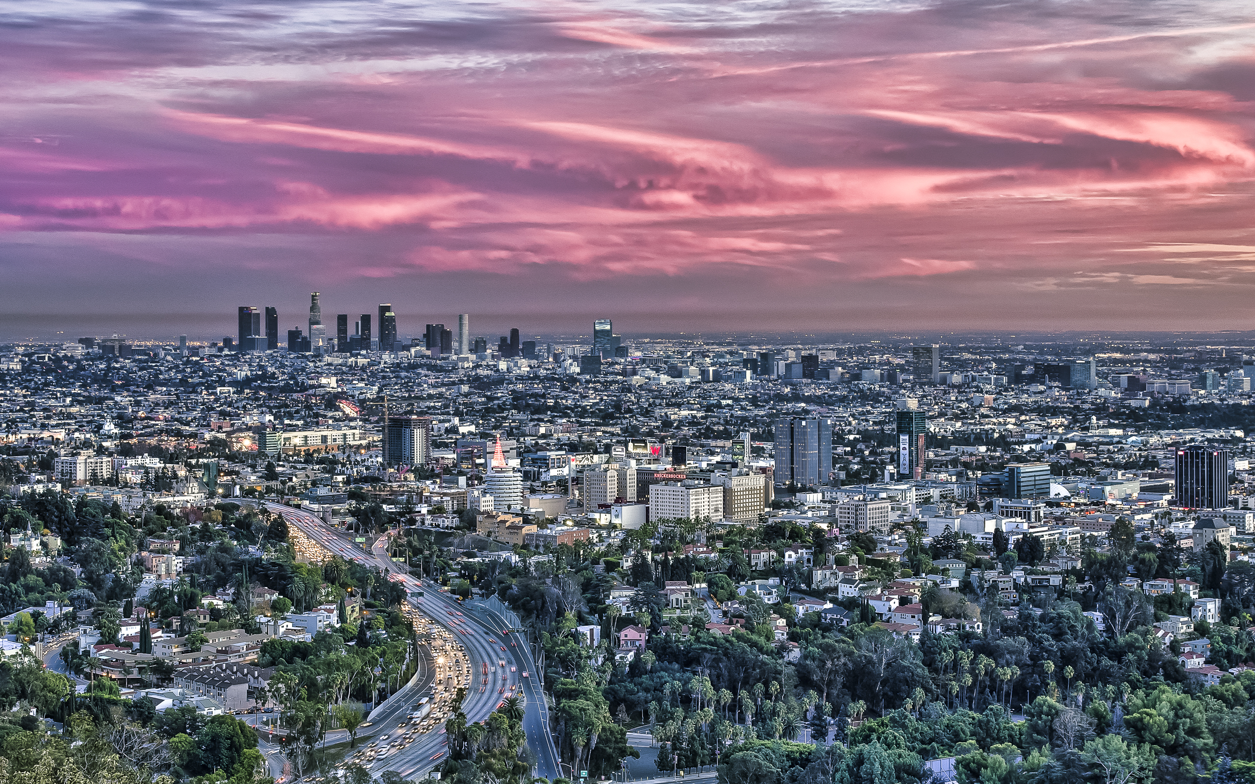Los Angeles From Hollywood Bowl Overlook By Sarmu - Los Angeles Overlook , HD Wallpaper & Backgrounds