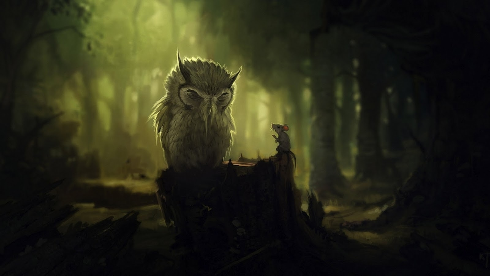 Desenhar / O Papel De Parede Do Design De Coruja Sábio - Fantasy Forest Animal Art , HD Wallpaper & Backgrounds