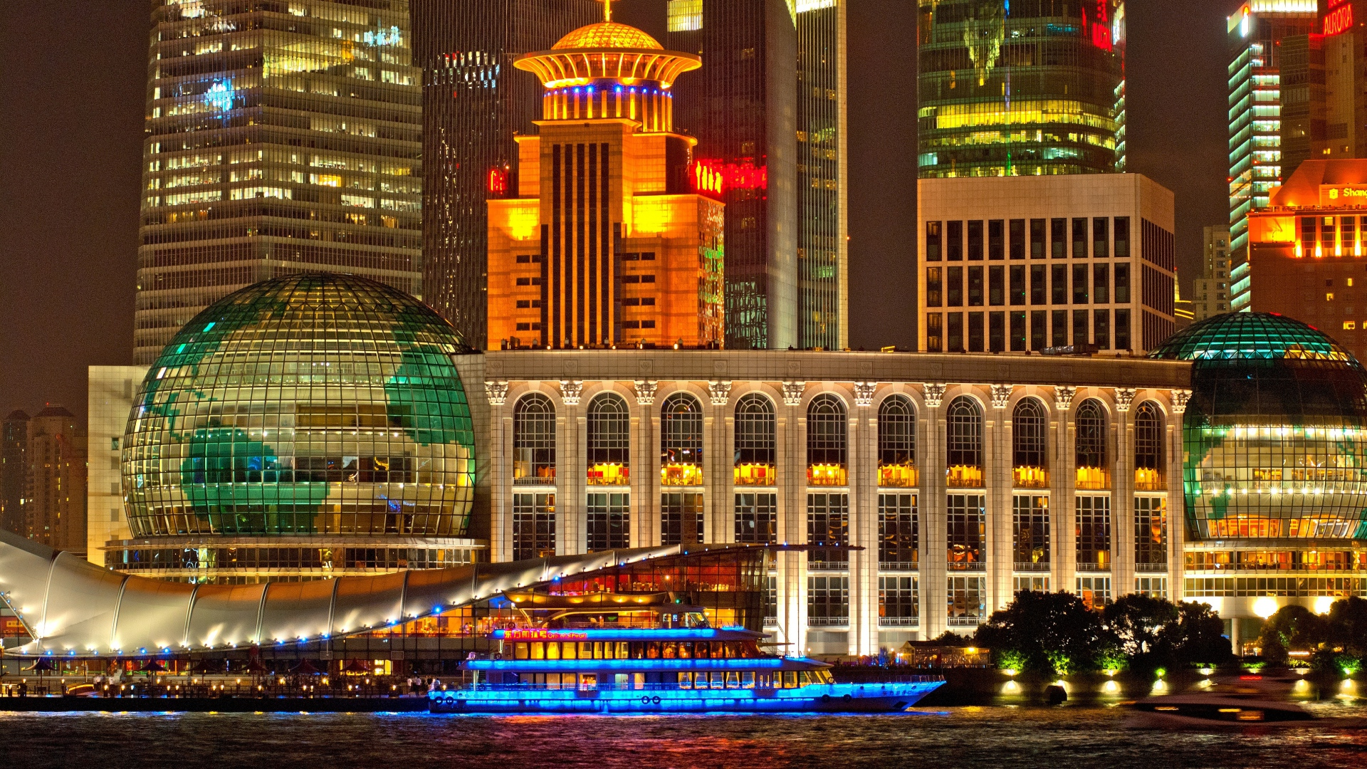 Shanghai Nights Lights Building Skyscrapers City Hd - Light Hd Images In Building , HD Wallpaper & Backgrounds