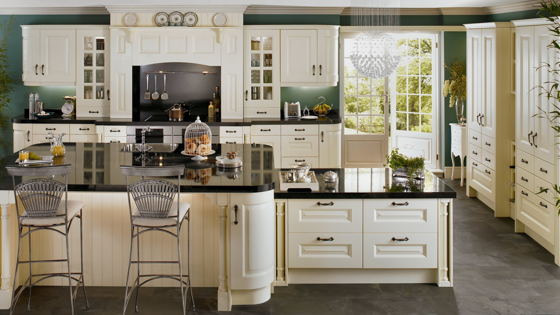 Kitchen Wallpaper Ivory Kitchen Cabinets With Gray Floors