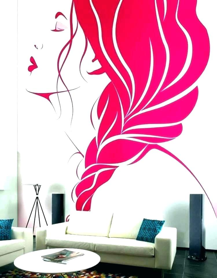 Wall Paint Design Photos Cool Wall Paint Designs Cool - Salon Wall Painting Design , HD Wallpaper & Backgrounds