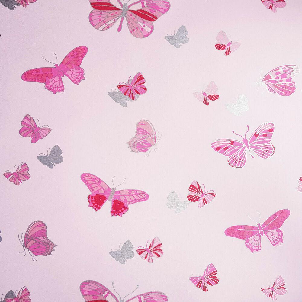 Details About Red Pink Silver Love Butterflies Wallpaper