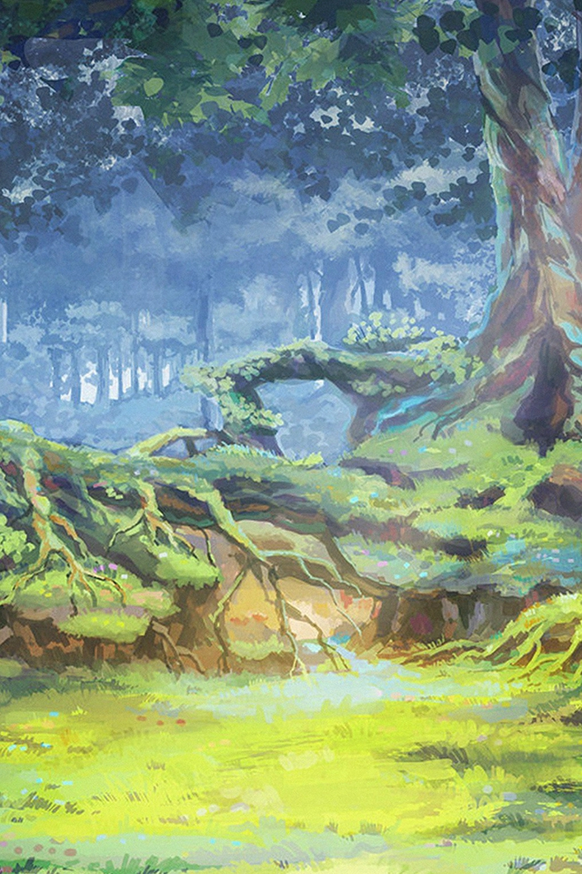 Anime Nature Forest Grove Illustration Art Iphone 4s - Anime Nature Wallpaper Iphone , HD Wallpaper & Backgrounds