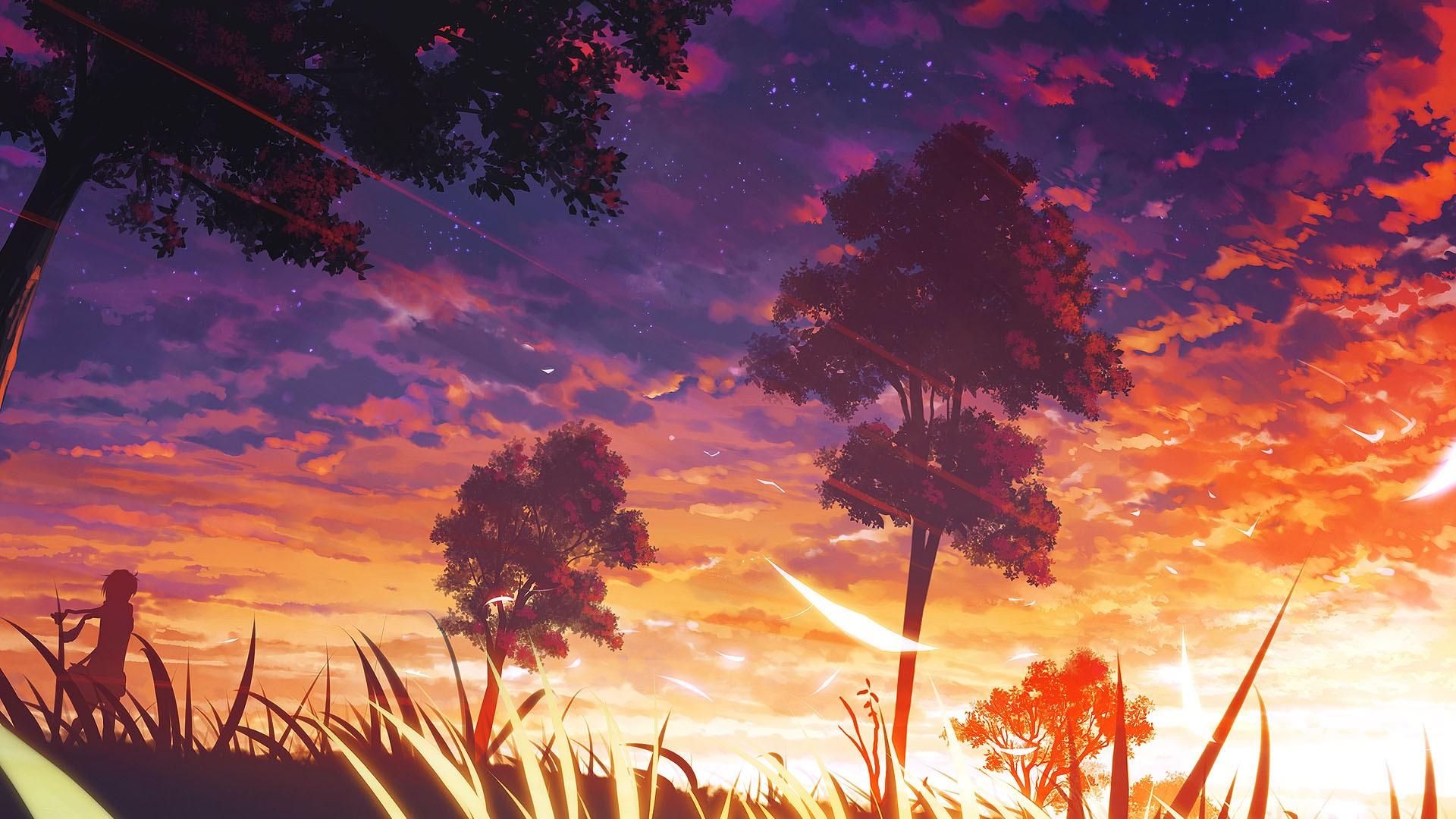 Trees, Anime, Manga, Forest Wallpapers Hd / Desktop - Purple And Orange Landscape , HD Wallpaper & Backgrounds