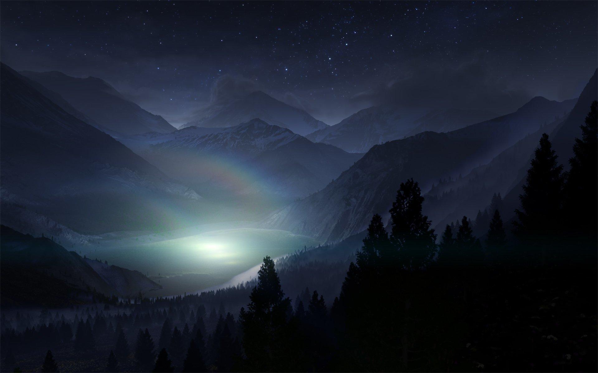 Nature Landscape Rainbow Tree Silhouette Shadow Night - Mountain Fog Night , HD Wallpaper & Backgrounds