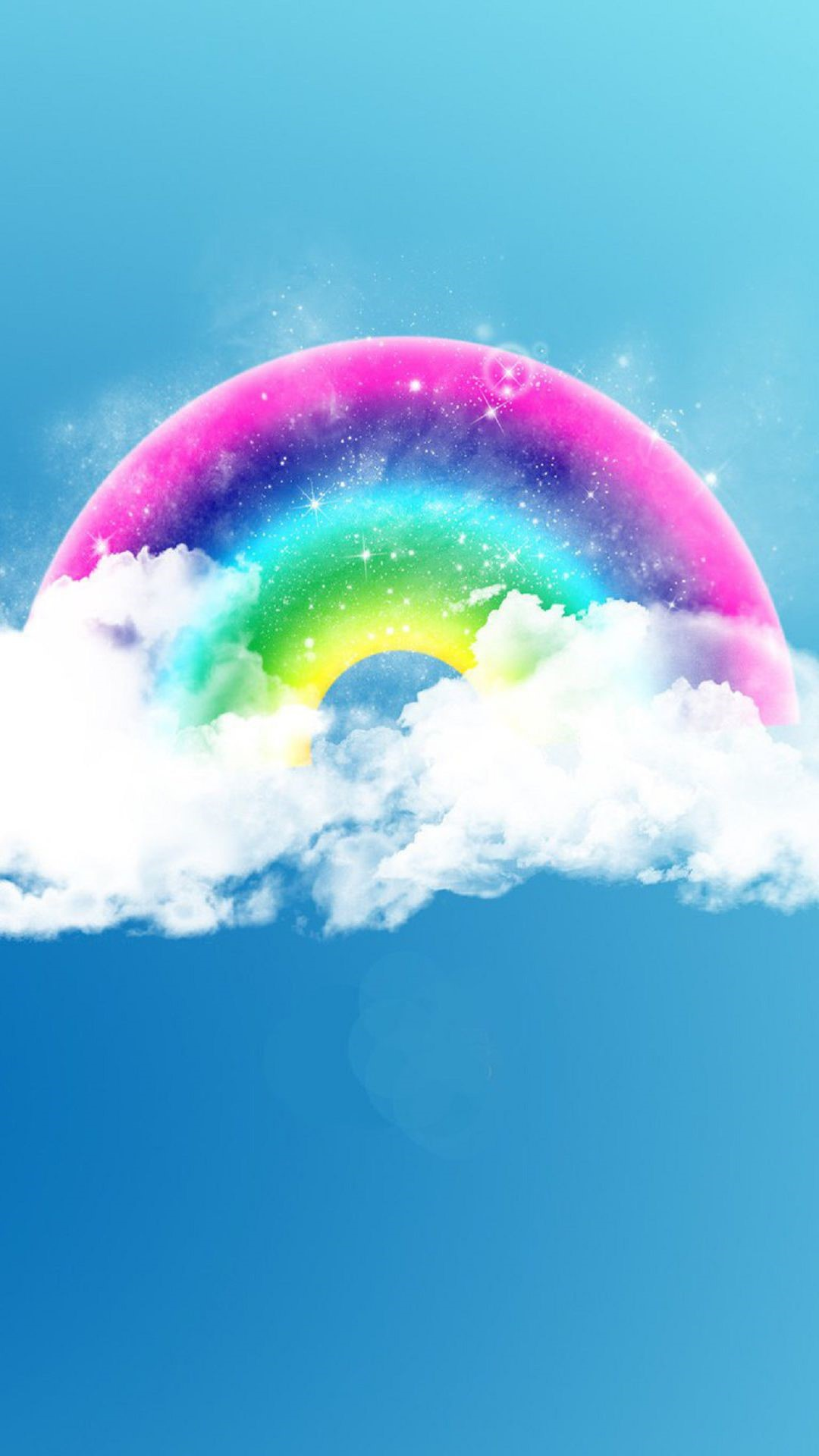 Fantasy Arco-iris Fluffy Clouds Android Wallpaper Whatsapp, - Watercolor Rainbow With Clouds , HD Wallpaper & Backgrounds