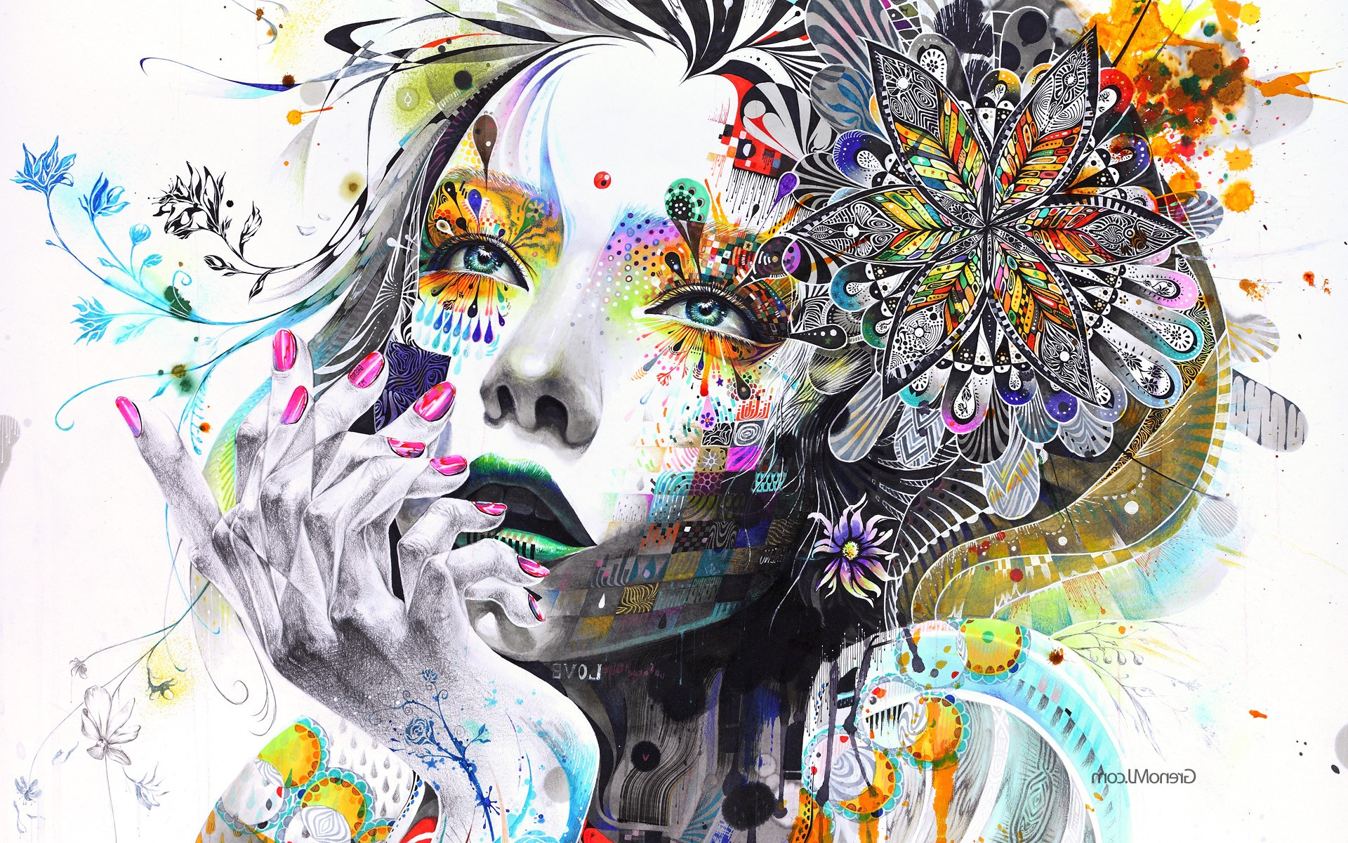 Artwork, Hand, Face, Colorful, Women, Surreal, Mosaic, - Art Woman Flowers , HD Wallpaper & Backgrounds