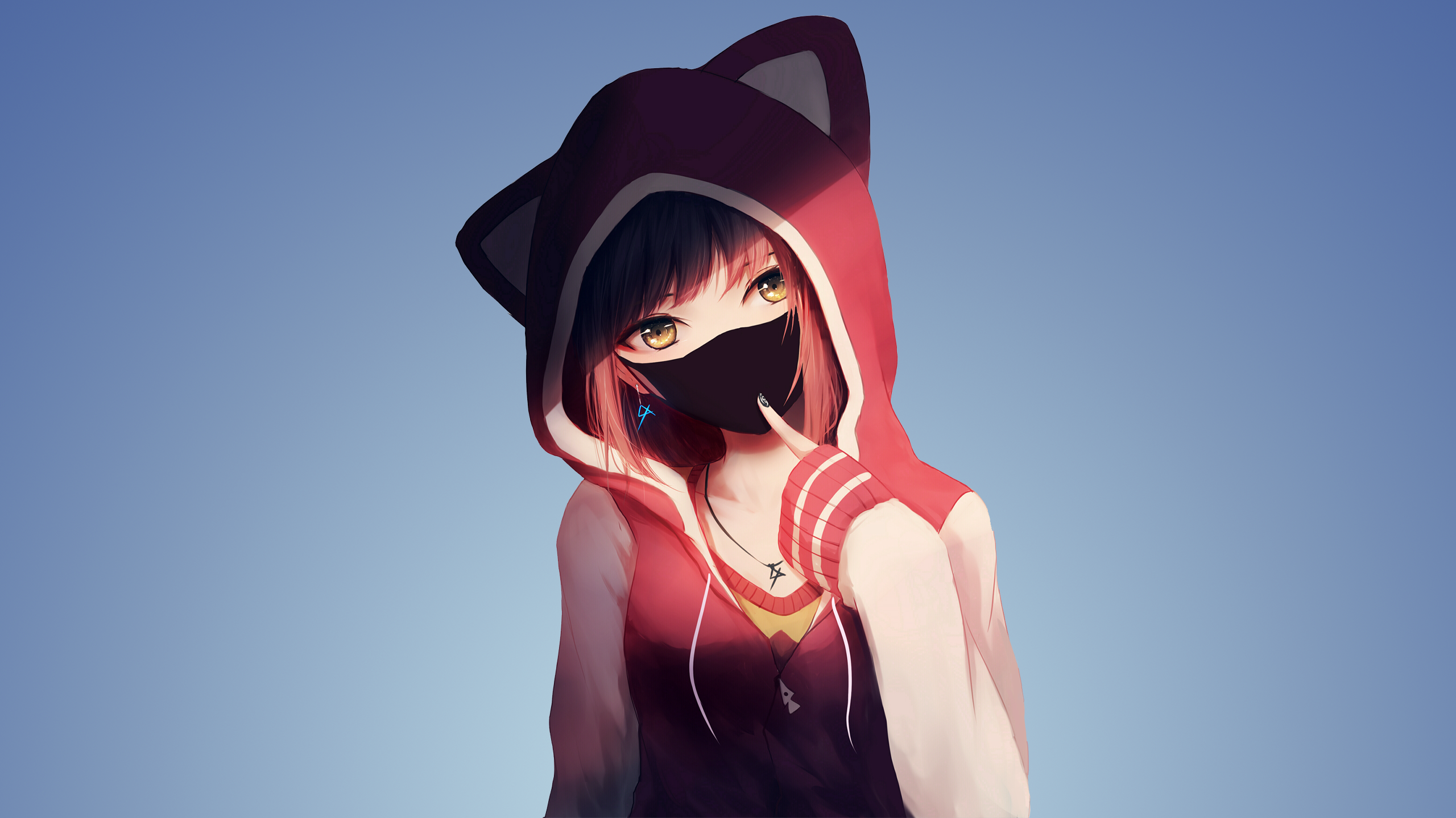 Original Resolution Popular - Anime Girl With Hoodie , HD Wallpaper & Backgrounds
