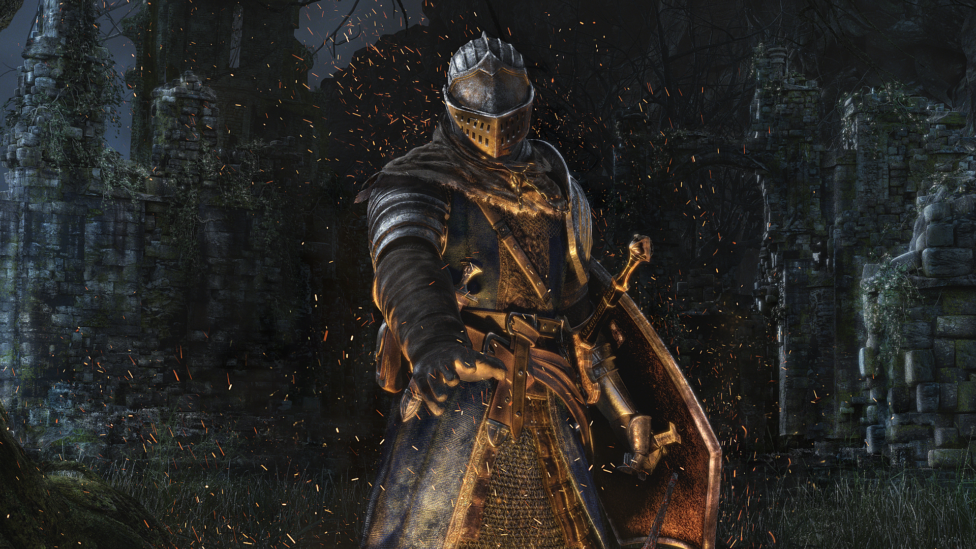Knight Iluminated By Bonfire - Dark Souls Remastered , HD Wallpaper & Backgrounds