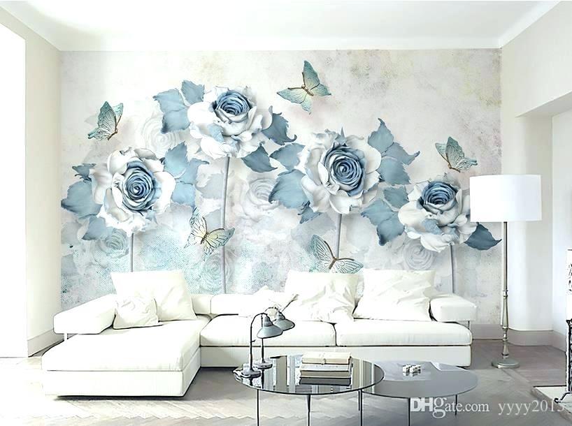 Blue Wallpaper For Walls Bedroom Light Elegant Flower ...