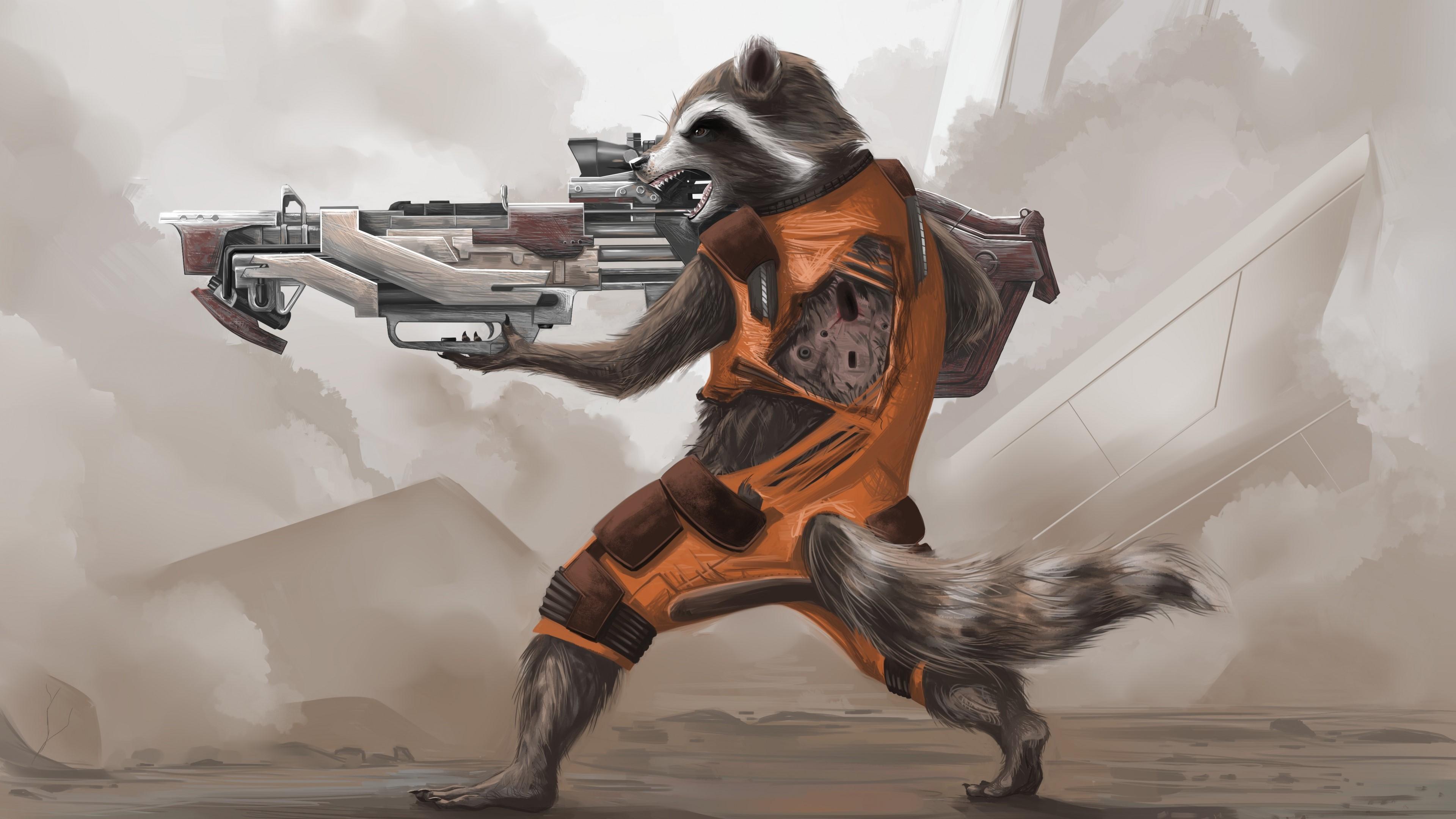 Wallpaper Rocket Raccoon De Guardianes De La Galaxia - Rocket Raccoon Artwork , HD Wallpaper & Backgrounds