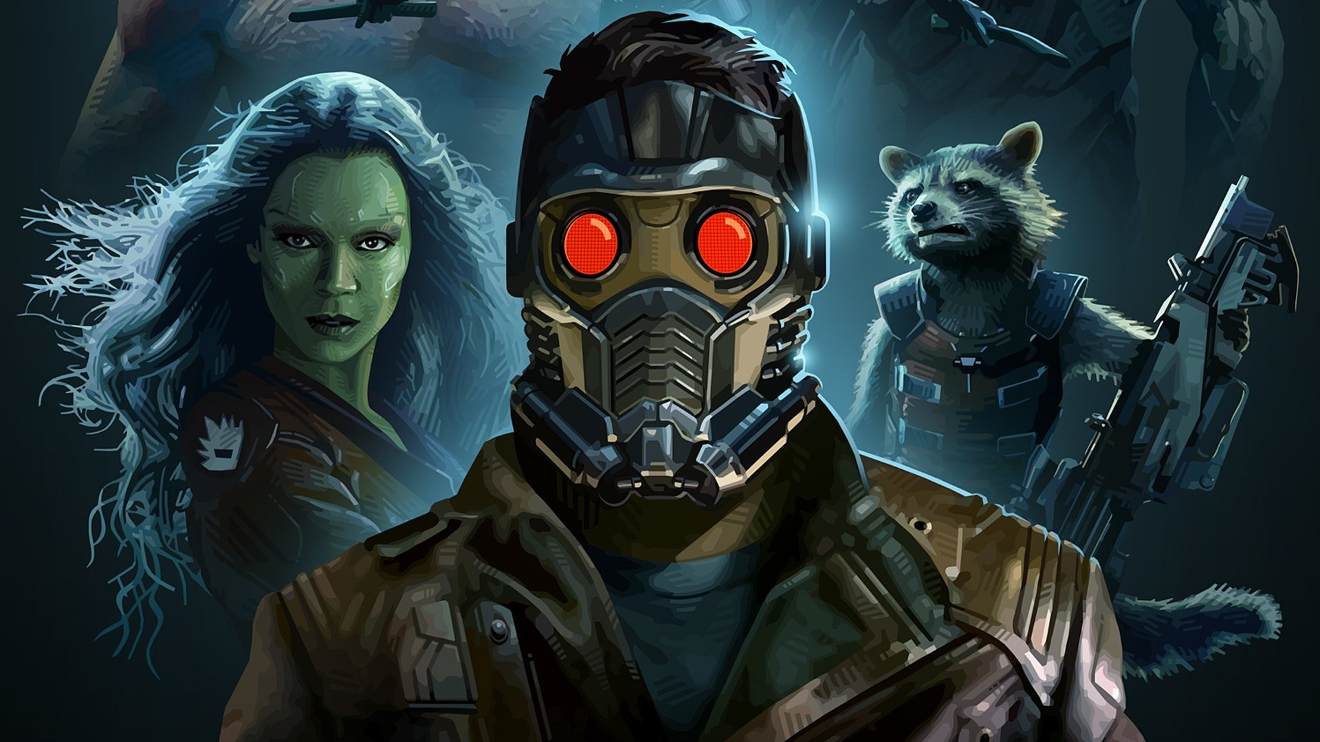 Wallpapers Id - - Star Lord Gamora And Rocket , HD Wallpaper & Backgrounds