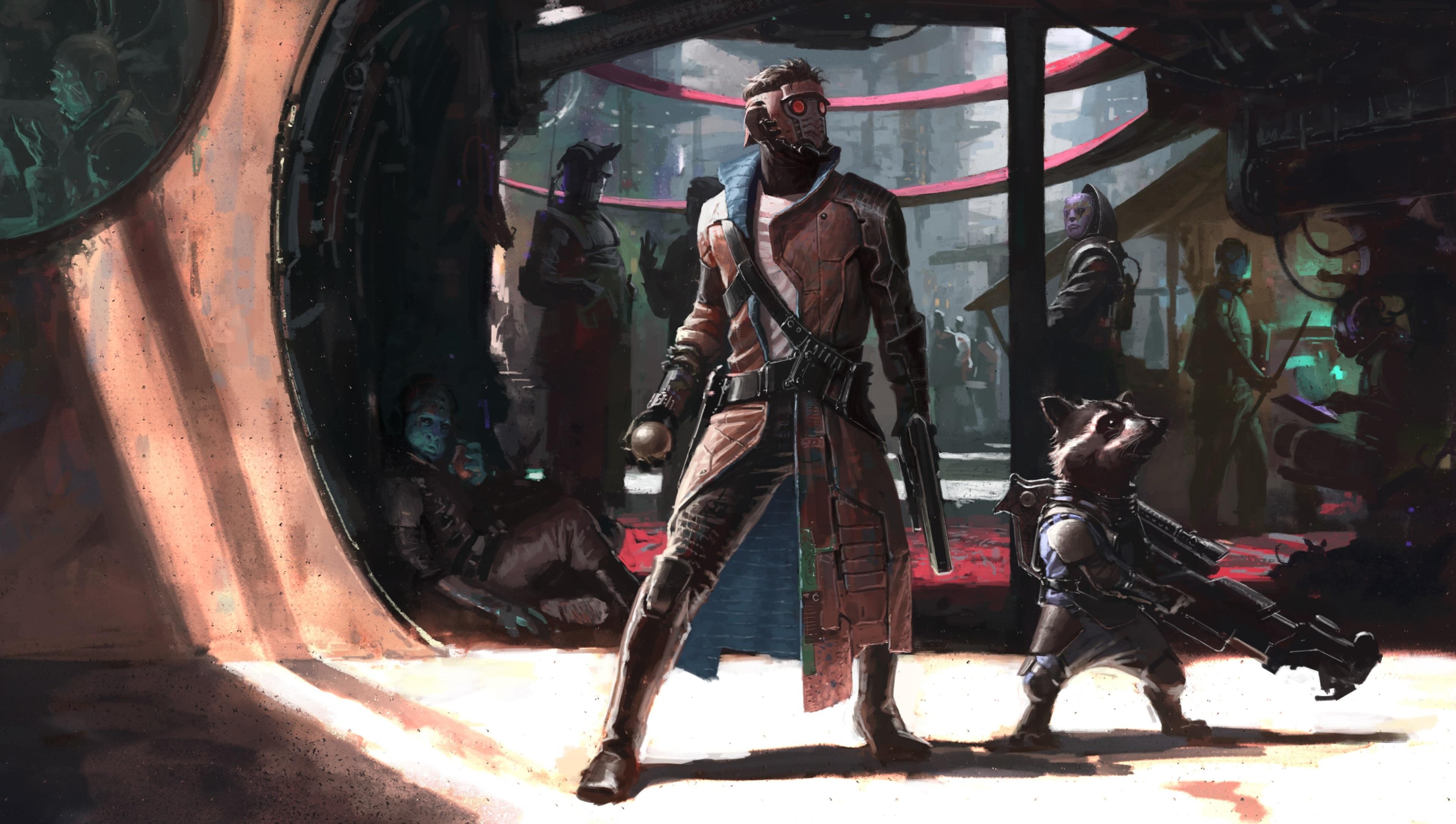 Guardianes De La Galaxia 4k Hr Wallpaper - Star Lord And Rocket , HD Wallpaper & Backgrounds