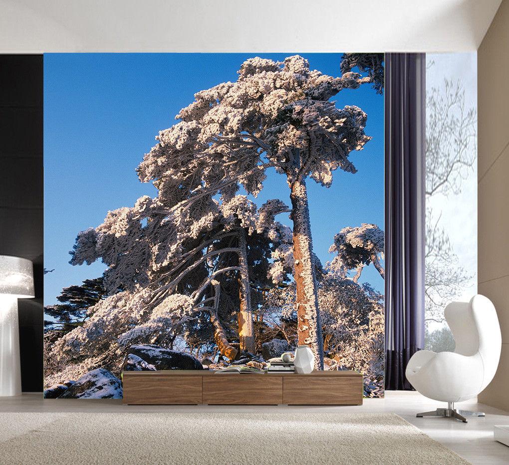 Papel Pintado Mural De Vellón Invierno árboles Cielo