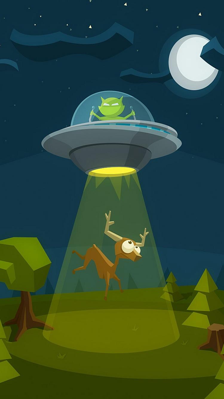 « Cartoon Et Flying Saucer » Lockscreen For Iphone - Iphone 6 Wallpaper Cartoon , HD Wallpaper & Backgrounds