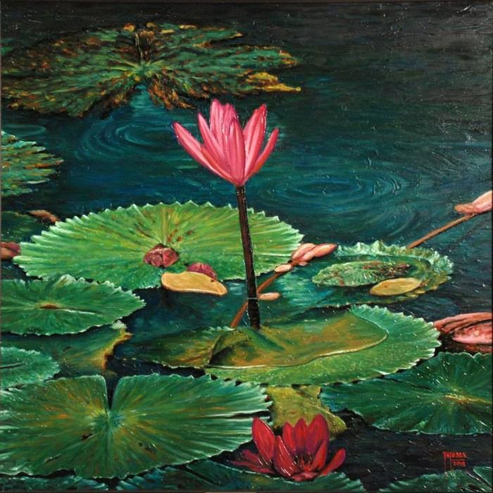 Contoh Gambar Lukisan Bunga Teratai Lukisan Kaca Bunga Teratai