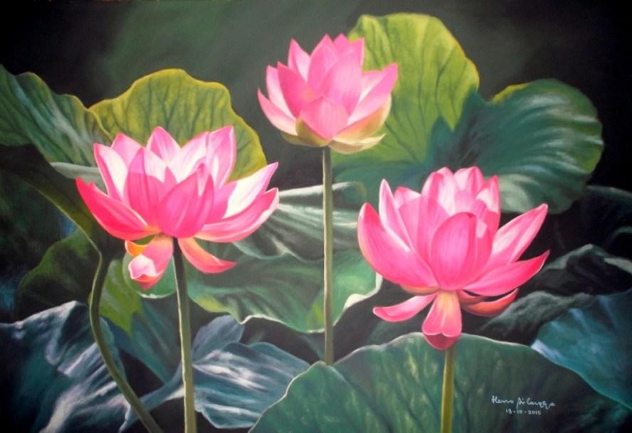Contoh Gambar Lukisan Bunga Teratai Lukisan Basuki Abdullah