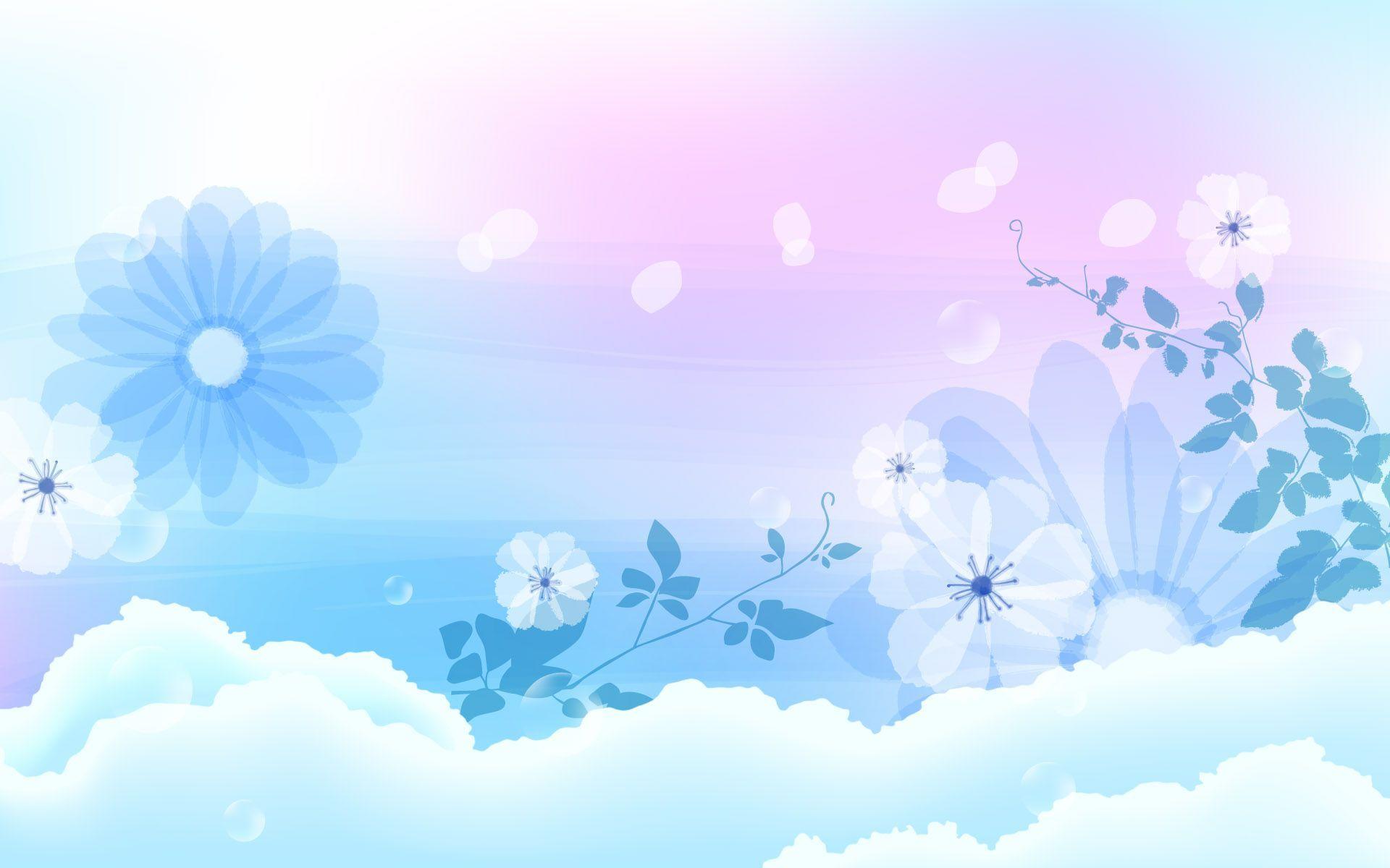 Blue Flowers Hd Desktop Wallpaper Widescreen High Definition - Light Color Background Design , HD Wallpaper & Backgrounds