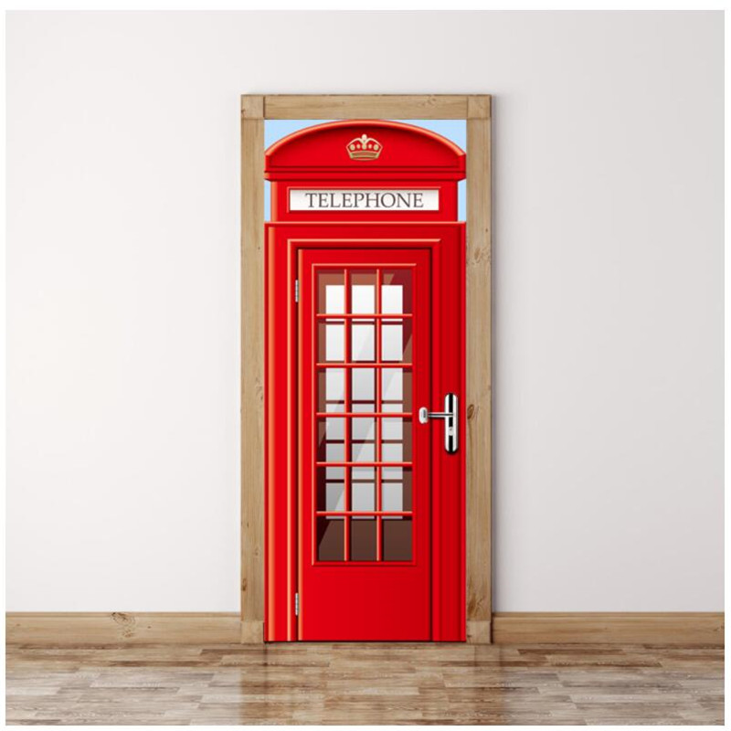 British Red Phone Booth Diy Wall Painting Mural Wallpaper - Phone Door Decoration , HD Wallpaper & Backgrounds