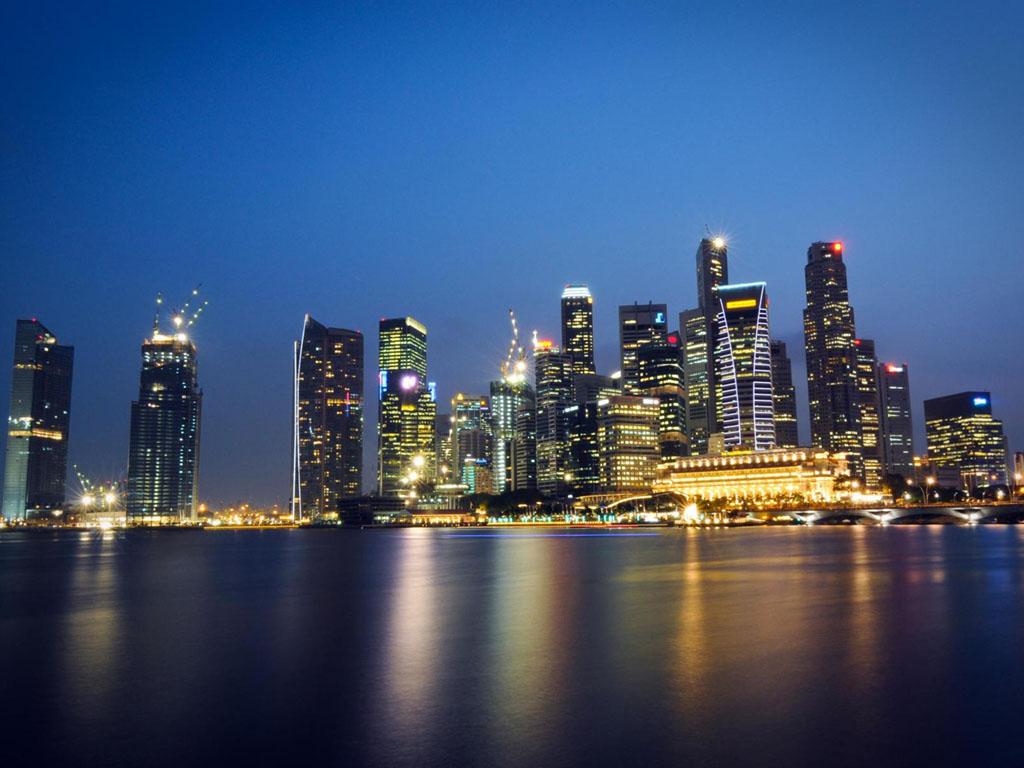 Kota Singapura Gedung Di Malam Hari HD