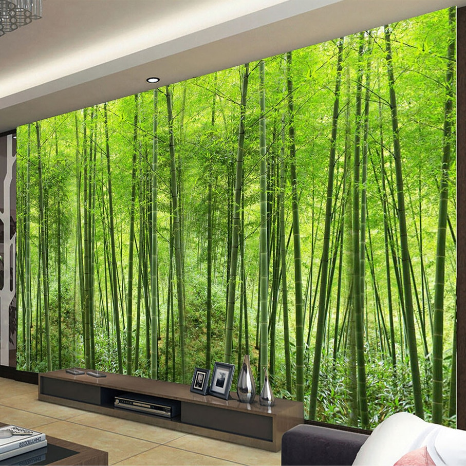 Kustom Foto Wallpaper Hutan Bambu Seni Lukisan Dinding