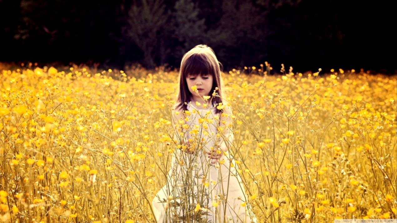Cute Child In A Flower Field ❤ 4k Hd Desktop Wallpaper - Little Girl In Flower Field , HD Wallpaper & Backgrounds