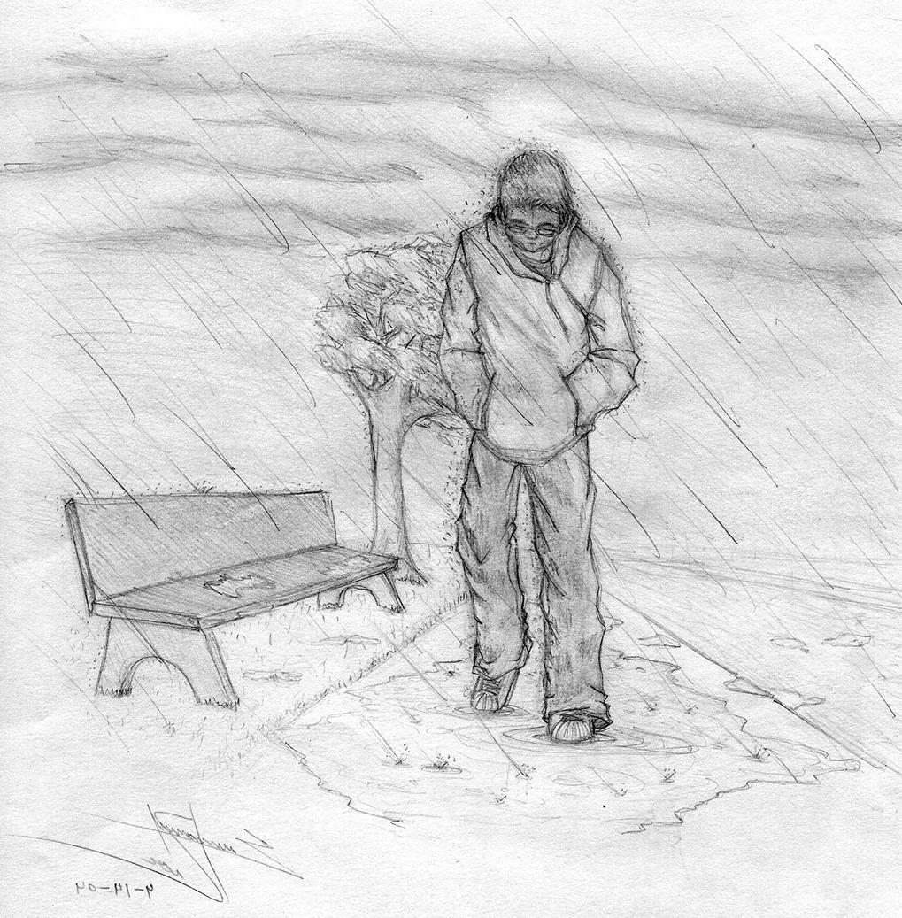 Wallpaper Sketch Pic Sad Drawing Alone Boy Wallpaper Alone
