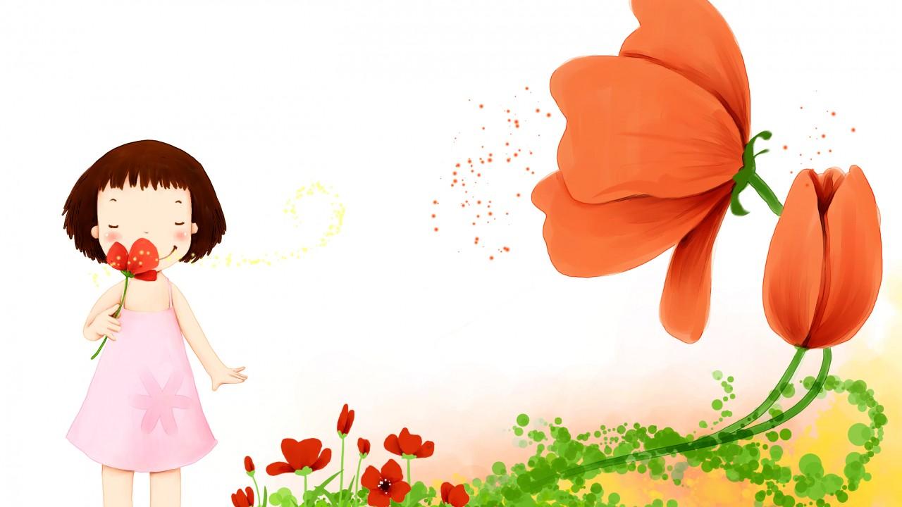 Cute / Cute Girl Wallpaper - Cute Girl With Flowers Cartoon , HD Wallpaper & Backgrounds