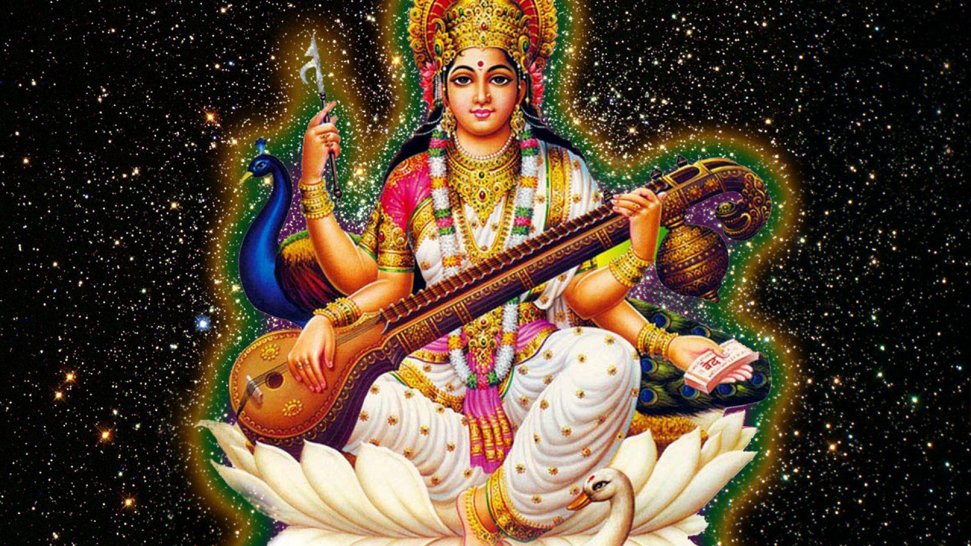 Goddess Saraswati Wallpaper - Good Morning And Happy Saraswati Puja , HD Wallpaper & Backgrounds