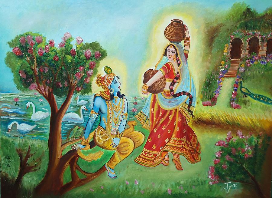 Divine Love Of Radha And Lord Krishna Luring The Beauty - Painting Beautiful Divine Love Radha Krishna , HD Wallpaper & Backgrounds