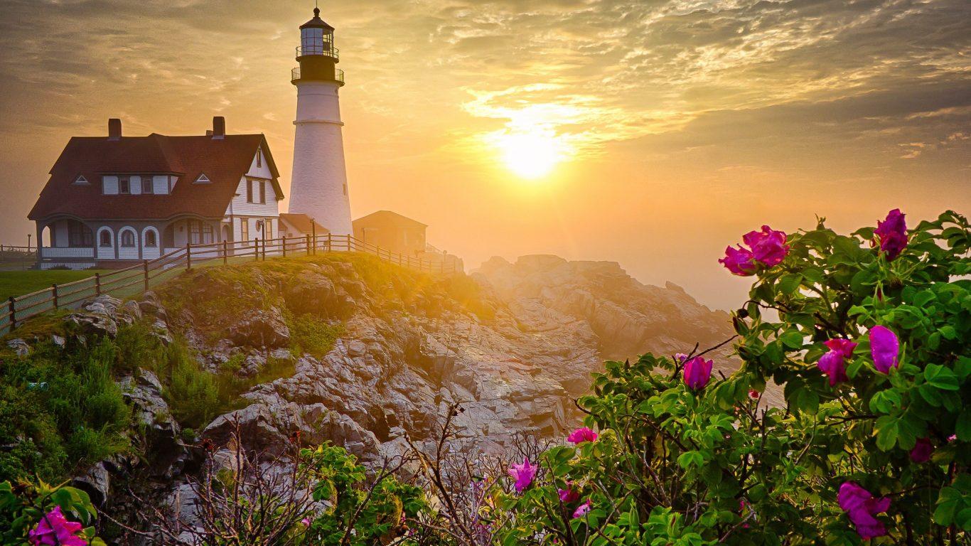 Landscape Beautiful Flowers Scenery Sunset Splendor - Portland Head Light , HD Wallpaper & Backgrounds